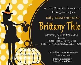 Halloween Baby Shower Invitation Pumpking Baby Shower Invites  Mom-to-Be Party Invitations Printable DIY