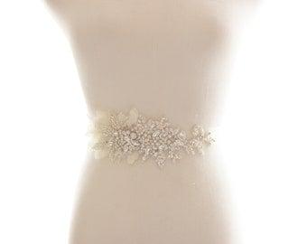 Crystal Rhinestone Beaded Belt, Bridal Sash, Chiffon Petals