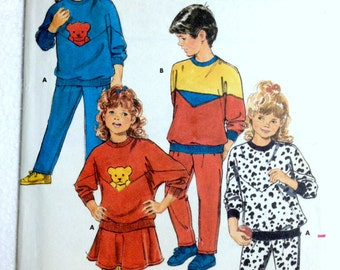 Boy's Girl's Children's Pullover Tops and Pants or Skirt Colour Blocked, Appliqued Butterick 5856 Size 5 6 6x