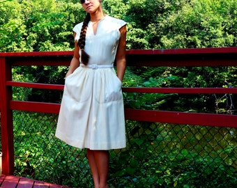 Boating / Tennis Dress 1940s Vintage Ivory Cotton Pongee Sporting Dress SMALL Short Sleeve Linen Like Natural Off White 40s Casual Sundress