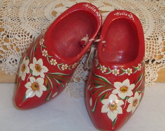 Pair of Miniature Decorated Wood Shoes - Souvenir of Holland