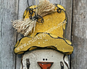 Scarecrow, Harvest Decor, Primitive Fall Decor, Primitive Scarecrow, Wood Scarecrow, Scarecrow Head,