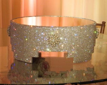 """14"""" Round Crystal Cake Stand with Pearl Details"""