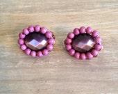 Purple Earrings Vintage Clip On Earrings Estate Jewelry
