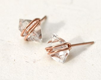 Medium Herkimer Diamond Studs - in Rose Gold, Sterling Silver, or Gold Filled
