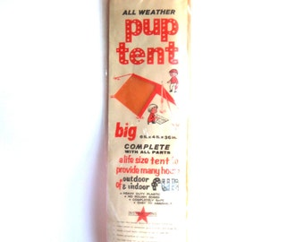 vintage children's all-weather pup tent toy - new complete indoor/outdoor bright neon orange kids' sporting activity playhouse fort shelter