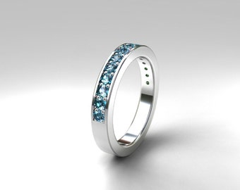 Aquamarine ring, white gold, aquamarine wedding band, eternity ring, gold wedding, micro pave, Blue wedding, aquamarine