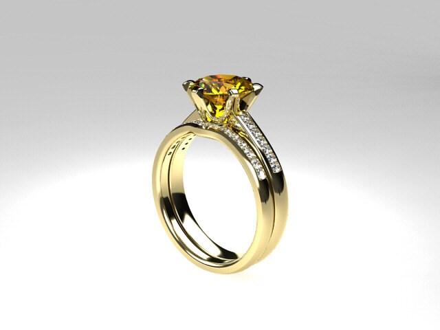 Engagement Ring Set Citrine Engagement Diamond Wedding Ring