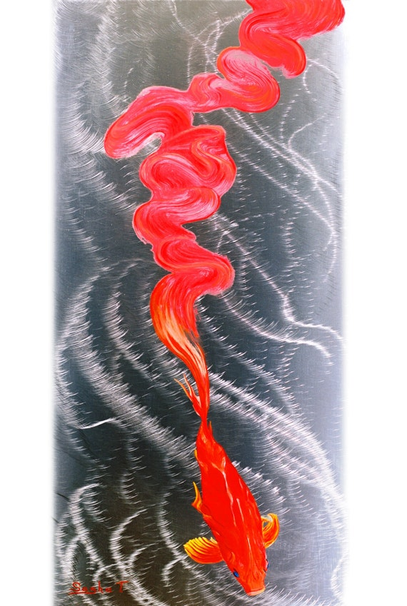 Metal art print on aluminum koi fish art on metal abstract for Koi fish metal art
