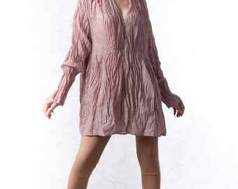 NO.96 Dusty Pink Cotton Ruched V-Neck Blouse, Crinkle Long-Sleeved Top