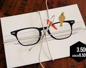 """Set of 3 postcards """"Glasses"""" - Black, Red & Beige"""