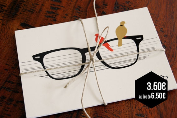 "Set of 3 postcards ""Glasses"" - Black, Red & Beige"