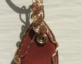Tumbled Jasper wire wrapped pendant