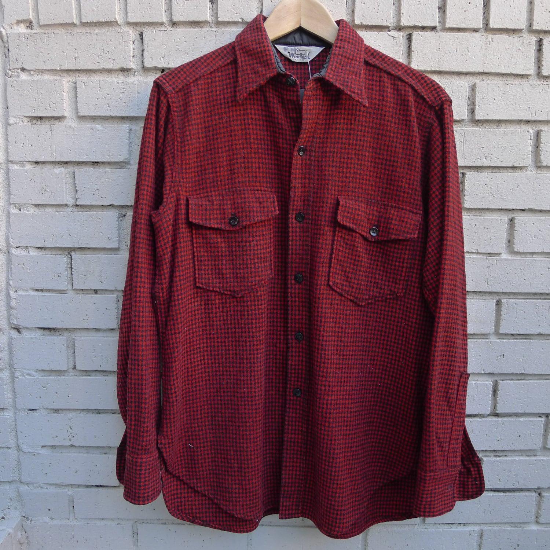 Vintage Woolrich Flannel Shirt Houndstooth Red Black Plaid