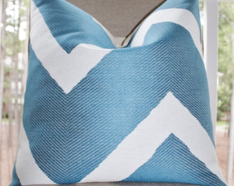 Designer Blue Pillow Cover - Blue Geometric Zig Zag Pillow - Throw Pillow - Decorative Chevron - Modern Blue Pillow