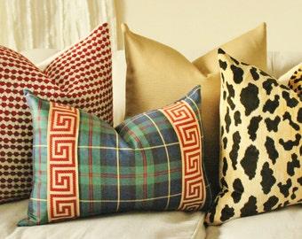 Greek Key Pillow Cover - Winter Throw Pillow - Plaid Pillow - Designer Decorative Pillow - Red Green Pillow - Tartan