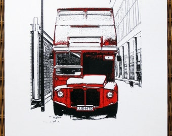London : Red Routemaster Bus in the Snow - limited edition screenprint