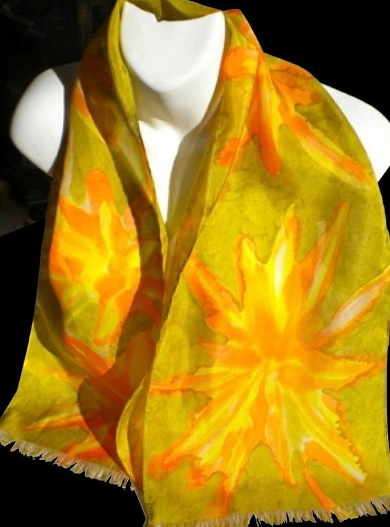 """Sumi Floral/  Saffron Yellow, Salmon, and Earth Tones 100% SILK SCARF.  Hand Painted Silk Scarf by NYC  Artist Joan Reese. """"One of a kind"""""""