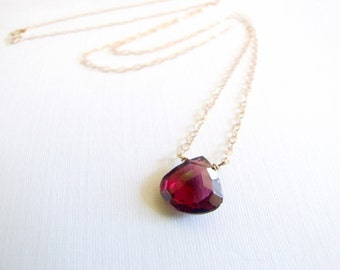 Garnet necklace, Gift 14k gold-filled or sterling large 2.5ct red natural gemstone minimal solitaire January Birthstone