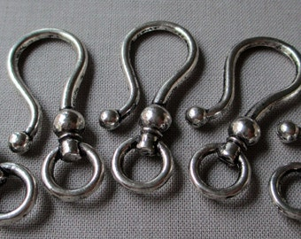 silver toned hook large fishhook jewelry clasp closure hook and eye, lot of 5 sets