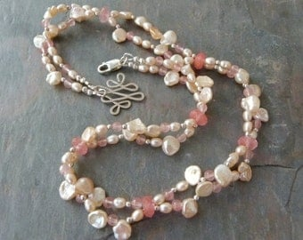 Delicate Pink Keshi Pearl Necklace w Rose Quartz & Sterling Silver, Handmade
