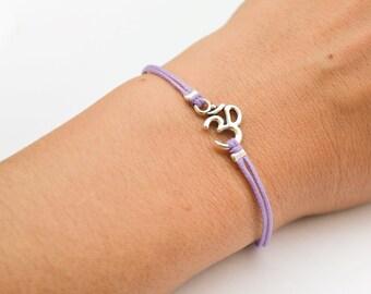 OM bracelet, purple bracelet with Tibetan silver Om charm, Birthday gift for her, Hindu symbol, spiritual yoga bracelet, chakra jewelry