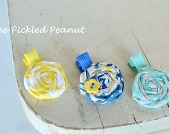 Toddler Hair Clips Baby Hair Clips Flower Hair Clips Clippies Hair Bows Baby Bow Baby Girl Small Little Petite Infant Rolled Fabric Flower