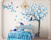 Vinyl wall decals tree wall decals and birds cats wall decal nursery wall art sticker children wall decals - tree birds birdcage Z230 cuma