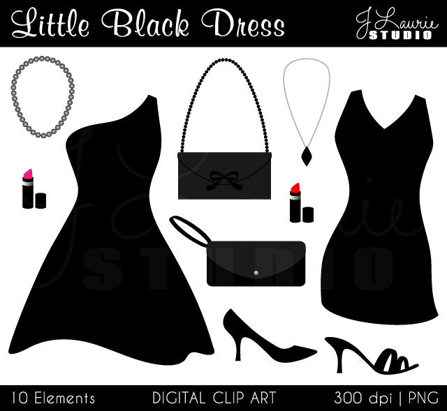 Little Black Dress Digital Clipart Cocktail