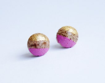 Gold and Pink Geometric wood Stud 7mm earrings
