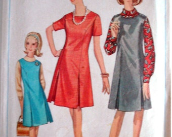 Vintage 1966 Simplicity 6701  Dress or Jumper Sewing Pattern  Size 14 1/2 Bust 35""