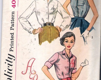 """Vintage 1957 Simplicity 2195 Classic Shirt Blouses Sewing Pattern plus Transfers Size 16 Bust 36"""""""