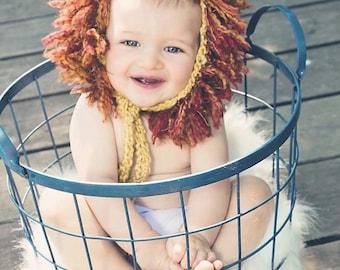 Lion Hat, Lion Beanie, Lion Bonnet, Lion Costume, Lion Mane, Baby Shower Gift, Photo Prop, Halloween Costume