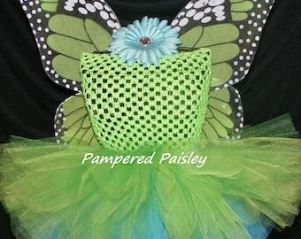 Green Monarch butterfly tutu dress - butterfly tutu  - Halloween  - Birthday costume size newborn to 4t - costume