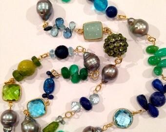 Navy Blue Green Statement  Necklace, Blue Sapphires, Swiss Blue Topaz,Grey Baroque Pearls, Kayanite, Chrysopase, Agate, Bezel Set Connectors