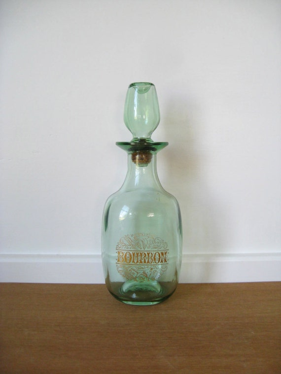 Vintage Green Glass Bourbon Decanter With Gold Lettering And