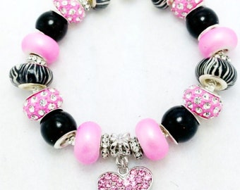 Rhinestone Zebra Heart European Style Charm Bracelet