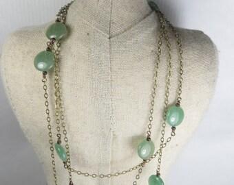 Natural gemstone long necklace, green gemstone necklace, layered gemstone Antique brass chain, vintage clasp