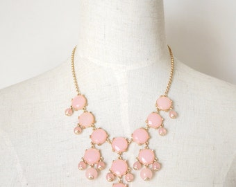 Baby Pink Clear Bubble Statement Bib Necklace Layered Necklace / Anthropologie Necklace / Chunky Statement / Bib Necklace / Jcrew Necklace