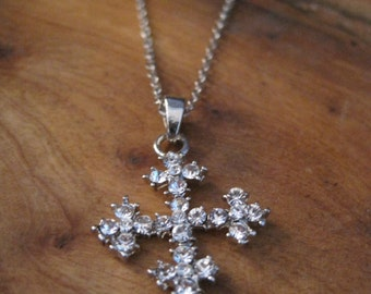 Silver Studded Cross Necklace - Rhinestone Cross Necklace