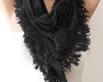 Autumn Scarf - Bohemian Scarf - Black - Cotton Scarf with cotton trim edge - Triangular