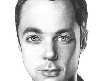 Sheldon Cooper Portrait, Big Bang Theory Art, ORIGINAL Drawing, Sheldon Cooper Art, Geek Art, BBT, Graphite Pencil, 11x14, Original Artwork