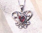 Garnet Heart Necklace in Sterling Silver Handmade Jewelry