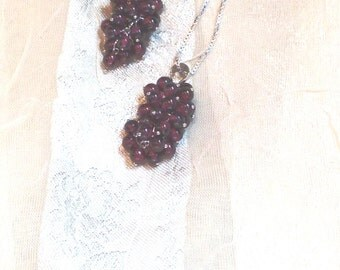 Garnet Wine Lovers Necklaces Choice of Sterling Silver or Black Silk Cord