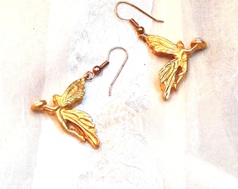Vintage Fairy Earrings Estate Jewelry 1970s Gold Fairies Bearing Pearl Gifts
