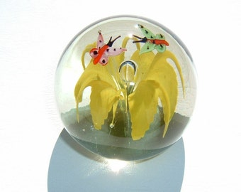 Delightfully Decorative Fine Glass Art Polished Paperweight with Butterflies and Flower