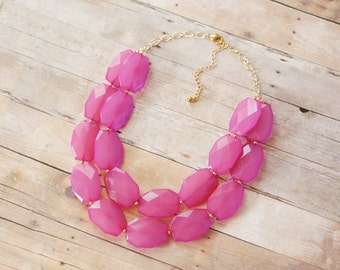 Fuchsia Hot Pink Statement Necklace, Double Strand Pink Necklace, Pink Bib Necklace, Pink Bridesmaid Necklace