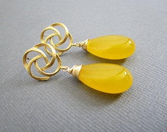 SALE - yellow Earrings, Wedding, Bridesmaid Jewelry,Bridesmaid earrings, wedding jewelry, Lapis, Jade Jewelry