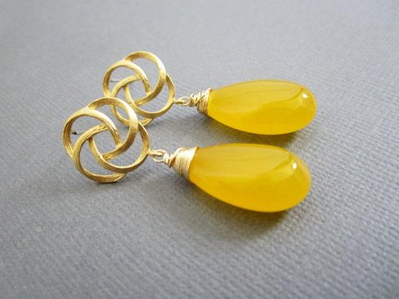 SALE - yellow Earrings, Wedding, Bridesmaid Jewelry,Bridesmaid earrings, wedding jewelry, Lapis, Jade Jewelry