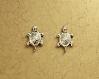 Silver Turtle Magnetic Clip Earrings
